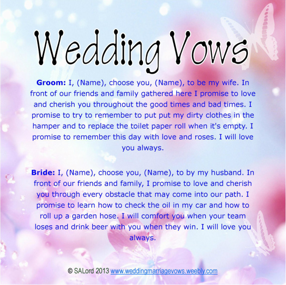 Funny wedding marriage vows silly sample vow examples wedding funny wedding vows junglespirit Choice Image