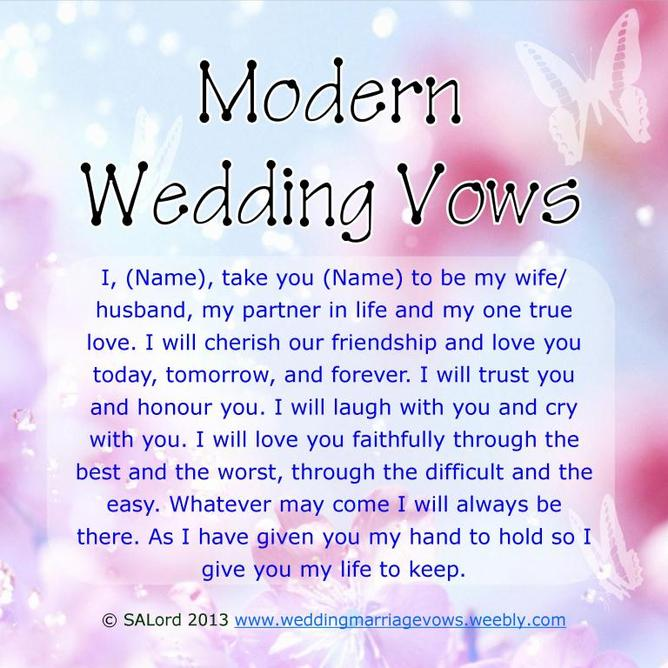 Modern Wedding Marriage Vows - Sample Vow Examples - Wedding ...