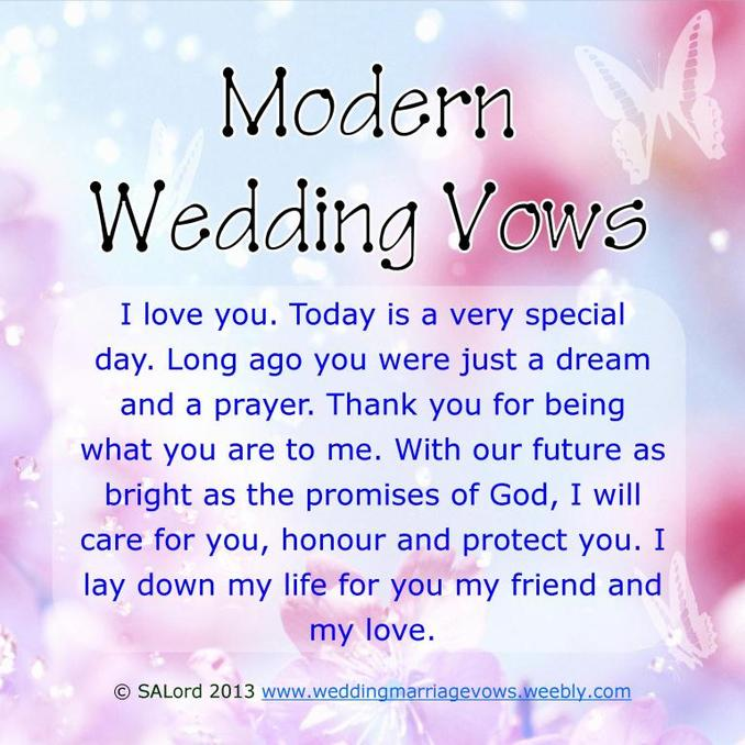 Modern Wedding Marriage Vows - Sample Vow Examples - Wedding & Marriage Vows