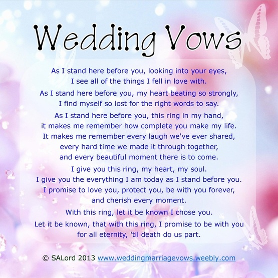 Personal wedding vows sample marriage vow examples wedding romantic wedding vows junglespirit Gallery